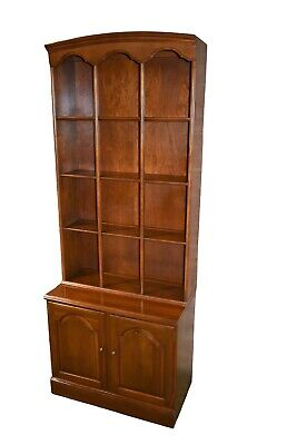 Vintage Ethan Allen Solid Cherry Americana Style Two Piece Bookcase