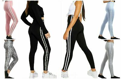 Ladies Girls Side Stripe Active Wear Fitness GYM Leggings Sizes 8,10,12,14