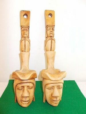 2 Vintage Handcarved Wooden Mask Wall Sculpture Decor, Bought Philippines,Unique