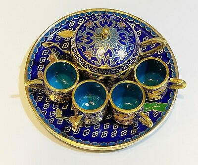 Cloisonne Enamel Vintage Chinese Teapot Tea  Cup Brass Miniature Teaset 7 pc Lot