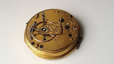 ANTIQUE / VINTAGE 40mm FUSEE POCKET WATCH MOVEMENT MISSING THE CHAIN FOR PARTS