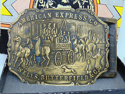 American Express Belt Buckle Wells Butterfield & Co. with Box