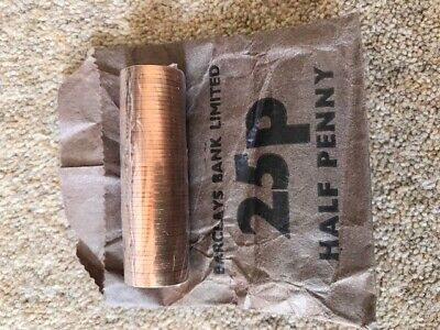 1971 - 50 x Half Penny 1/2p Mint Condition. Sealed Bank Roll