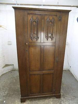 dark,oak,single,panelled,wardrobe,shelf,bedroom,hanging rail,vintage,1930's