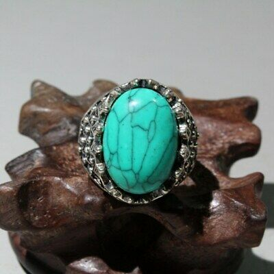 Collectable China Old Miao Silver Mosaic Turquoise Hand-Carved Noble Unique Ring