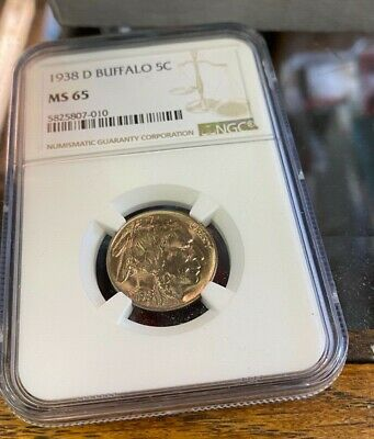 Dripping - 1938-D MS-65 MS65 Buffalo Nickel NGC Graded - From original Roll!