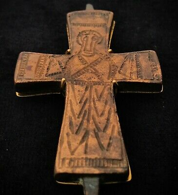HUGE XL Byzantine (600-900 AD) Ancient Bronze Cross & 18K Gold: Barakat Ancients