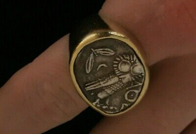 Authentic Barakat Antiquities CA.300BC to 200 BC Sabean Drachma in 18K Gold Ring