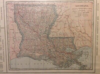 Antique Map Of Louisiana From A 1908 Atlas & Gazetteer Of The World-mint