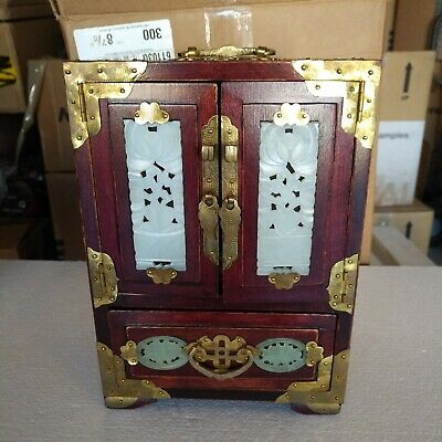 Chinese Rosewood Jewelry Box With Brass Ornaments And 8 Carved Jade Inlay Panels