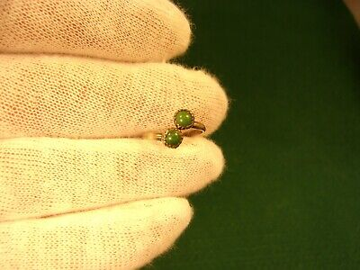 Very Pretty Little Old Vtg Antique Sterling Silver & Dark Green Turquoise Ring