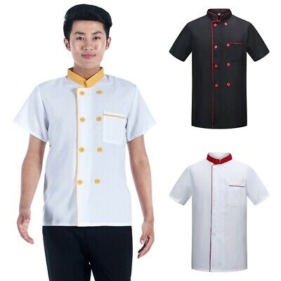 Unisex Short Sleeve Chef Coat Breathable Jacket Coffee Shop Work Uniform Costume