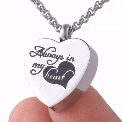 Always in My Heart Memorial Cremation Ashes Urn Pendant Necklace Keepsake UK
