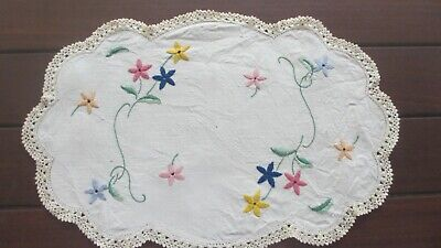 Vintage lovely Hand  Embroidered Flowers Doiley crocheted edge