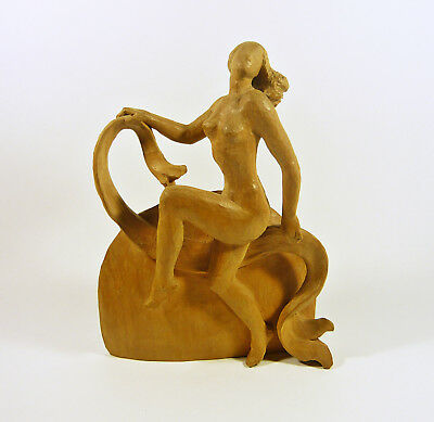 "Art Deco Nude Dancer Lady 9"", Vintage Handmade Woodenware Carved Wall Figurine !"