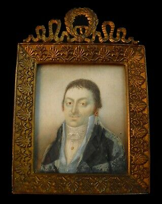 Late 18th Early 19th Century French Antique Miniature Portrait Painting Empire