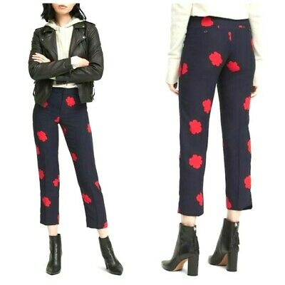 Banana Republic Womens Blue Poppy Red Floral Print Avery Ankle Pants Size 8