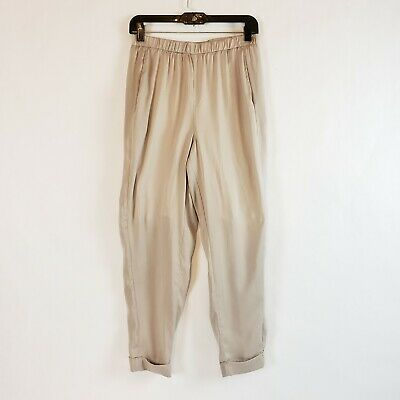 Lysse Women's Beige Cream Pull On Capris Cropped Stretch Pants Short Lined XS