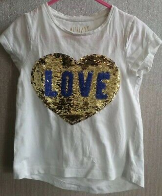 H/&M White Butterfly /& Gold Glitter Short Sleeve T-Shirt Age 4-6 Years NEW