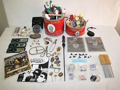 Vtg/Now~Mens Junk Drawer~Mix Jewelry/Lens/Brachiopod Fossil/Sion Keychain/Tins++