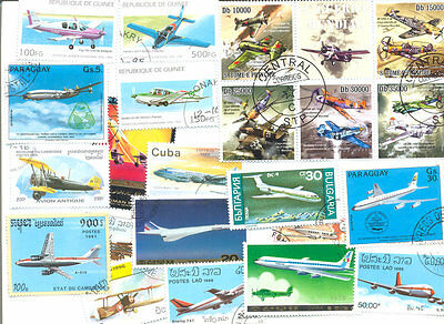 Aviation stamps-collection 100 all different -mainly large-