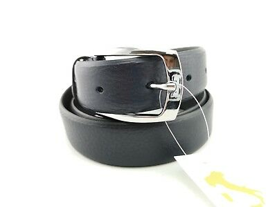 PA7- Men's Belt 120 cm Adjustable Made in Italy 100% Blue Leather Retail