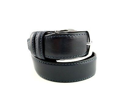 PA6- Men's Belt 120 cm Adjustable Made in Italy 100% Blue Leather Retail