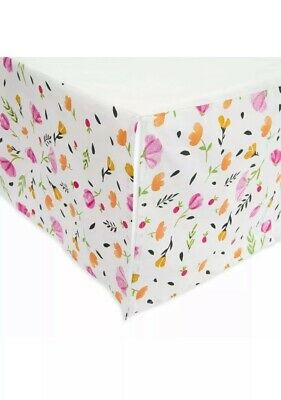 Little Unicorn Cotton Percale Crib Skirt Berry & Bloom NWT Floral Baby pink rose
