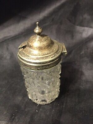 VIntage Mustard Pot Decorative Glass Silver Plate Top