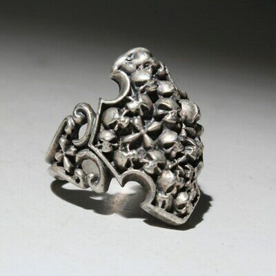 Collectable China Handwork Old Miao Silver Carve Bring Auspicious Decorate Ring