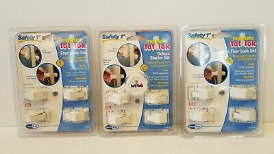 Safety 1st Magnetic Tot Lok Deluxe Starter Set. 2 Four Lock Sets. 12 Locks 1 Key