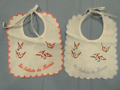 vintage baby bibs or doll bibs Made in Italy embroidered birds Un Saluto da Roma