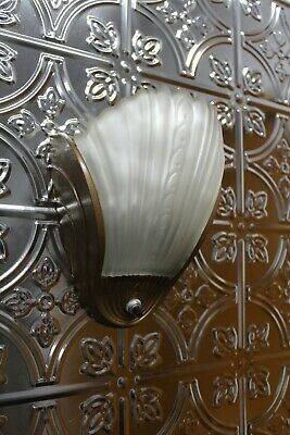 Antique Art Deco Slip Shade Wall Sconce Light Fixture Sign Alwyn Theater