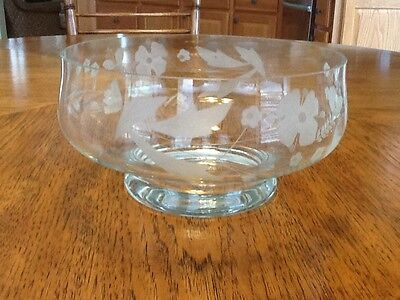"""Decorative Pedestal Clear Crystal Glass Bowl w Etched Flowers, 4"""" Tall"""