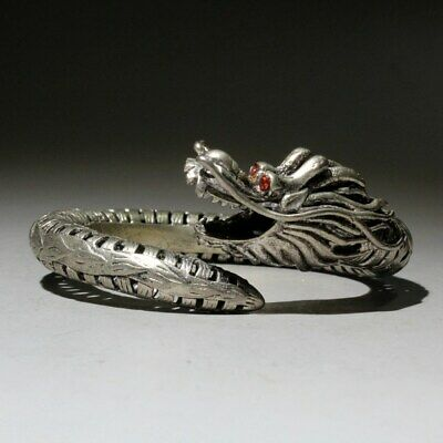 Collectable Qianlong Years Old Miao Silver Hand-Carved Dragon Chic Head Bracelet