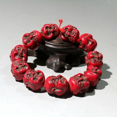 Collectable China Red Coral Hand-Carved Buddha Bring Auspicious Hand Catenary