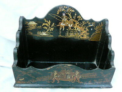 Antique Chinese Lacquer Ware Oriental Letter Rack Desk Tidy Vintage Gold