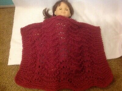 """Bitty Baby 15"""" doll hand knit blanket raspberry pink girl twin outfit clothes"""