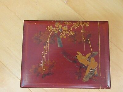 """Vintage Chinese Red Jewelry/Trinket Box, 7 3/4"""" w/Compartments-Reduced"""