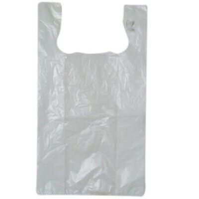 NEW White Extra Large Plastic Singlet Bags - 320mm - 200mm gusset - Extra Large