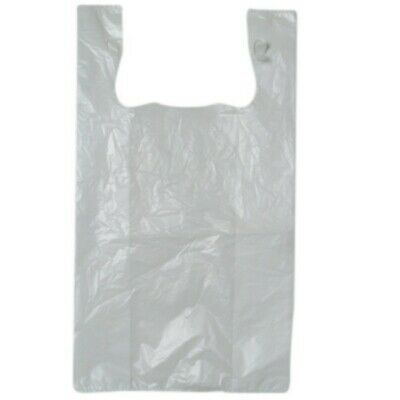 NEW White Heavy Duty Plastic Singlet Bags - 300mm - 175mm gusset - PACKET(250)