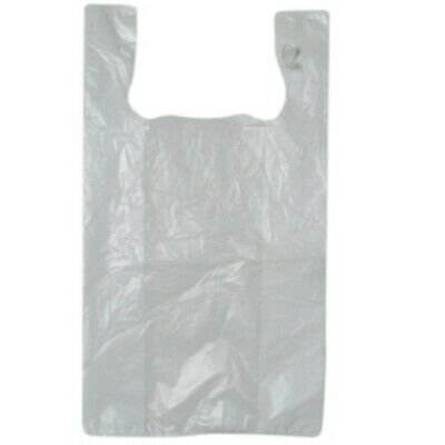 NEW White Plastic Singlet Bags - 250mm - 100mm gusset - PACKET(250)