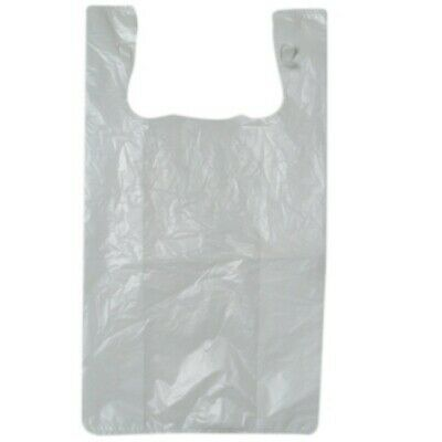 NEW White Plastic Singlet Bags - 300mm - 160mm gusset - PACKET(250)