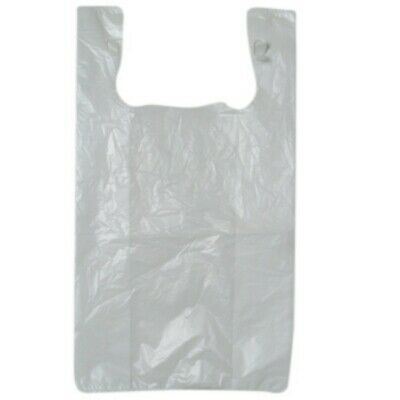 NEW White Plastic Singlet Bags - 190mm - 110mm gusset - PACKET(250)