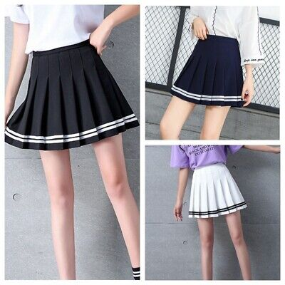 Women Girls High Waist Plain Tennis Skater Flared Pleated Schoolgirl Skirt NEW