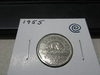 1955 - Canada - 5 cent coin - Canadian nickel - circulated