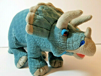 Triceratops Dinosaur with Patterned Skin, Glass-like eyes Plush Stuffed Animal