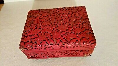 Very Old ~ Chinese Hand Carved Cinnabar Box, Dark Red Floral Calligraphy