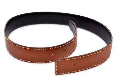 Authentic HERMES Ladies Leather Belt Reversible Size 60 Black Brown 82089