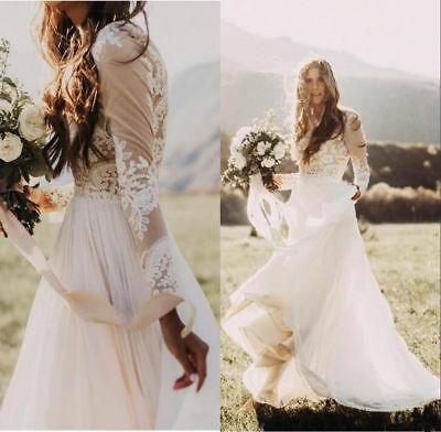 Lace Applique Bohemian Country Wedding Dress Sheer Long Sleeve Boho Bridal Gowns 102 29 Picclick Uk